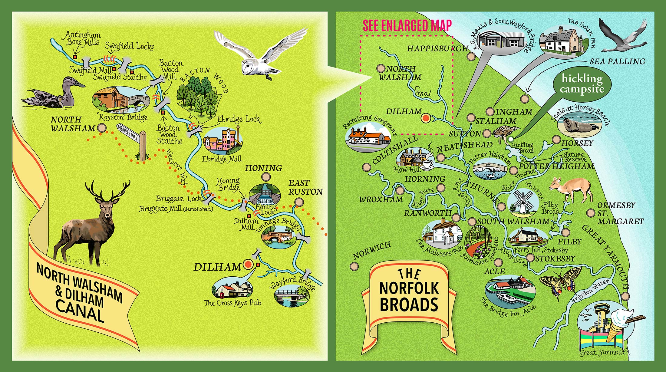 The Broads local area map